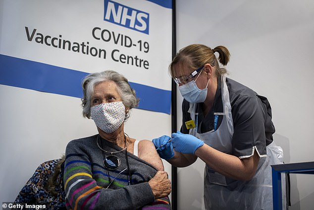 Oxford accidentally under-dosed participants in its coronavirus vaccine trial because of a measurement blunder by the university's researchers, it emerged today. Pictured: Doreen Brown receives the Covid-19 vaccine in London