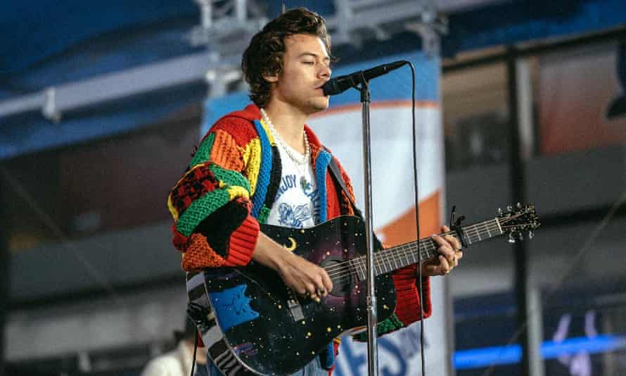 Harry Styles wearing the J W Anderson cardigan that sparked a TikTok craze