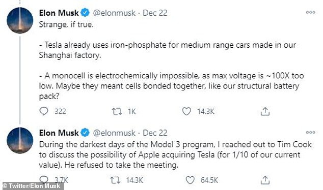 The Tesla boss took to Twitter following the news of the Apple Car, calling it 'strange' and labelling a monocell battery as 'electrochemically impossible' due to its low voltage output