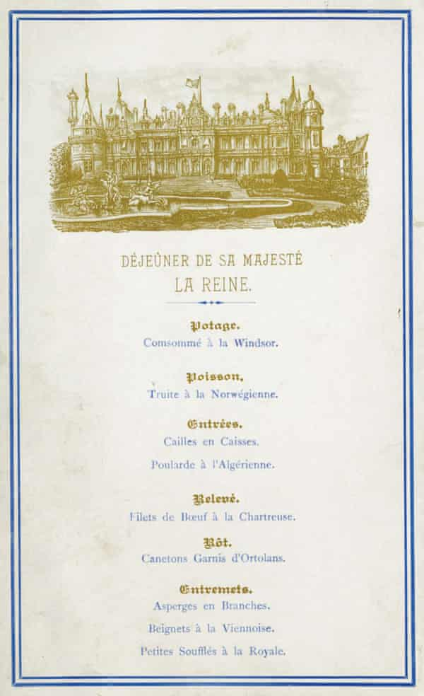 The lunch menu from Queen Victoria's visit to Waddesdon in 1890.