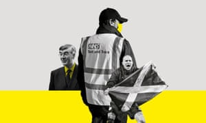 Composite of Jacob Rees-Mogg, a worker with test and trace on the back of their hi-vis, and a Scotland football fan