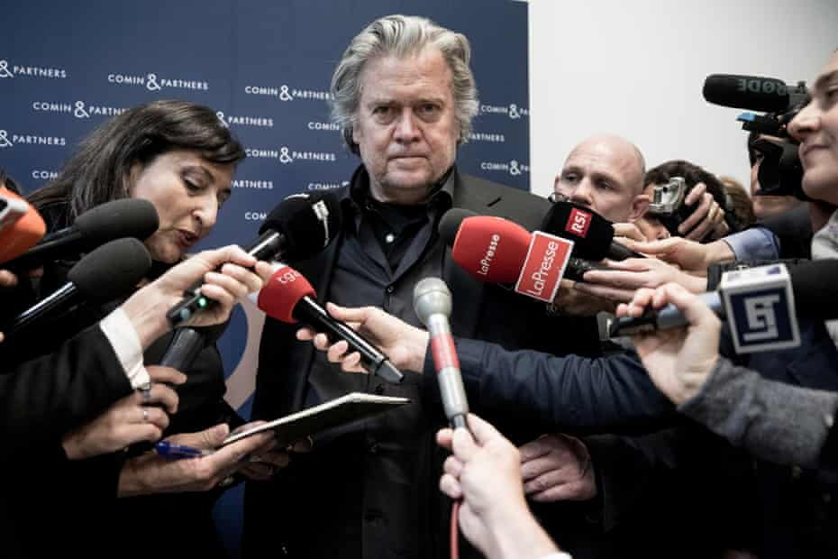 Steve Bannon talks to media during the 'Sovereignism v Europeanism' debate on 25 March 2019 in Rome, Italy.