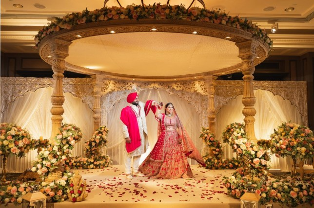 Anisha and Vikash Sarpal on their wedding day this year