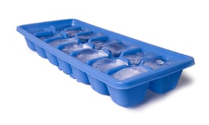 A tray of ice cubes