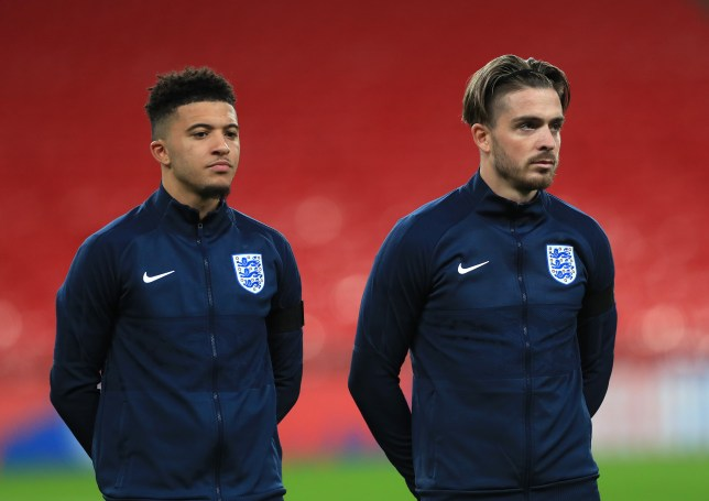 Manchester United transfer targets Jadon Sancho and Jack Grealish look on ahead of England's clash with the Republic of Ireland