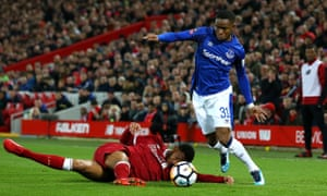 Ademola Lookman (right) and Joe Gomez, facing one another during the Liverpool v Everton FA Cup tie in January 2018. Both worked with Jason Euell as boys.
