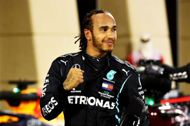 Race winner Lewis Hamilton of Great Britain and Mercedes GP celebrates in parc ferme during the F1 Grand Prix of Bahrain at Bahrain International Circuit on November 29, 2020 in Bahrain, Bahrain.