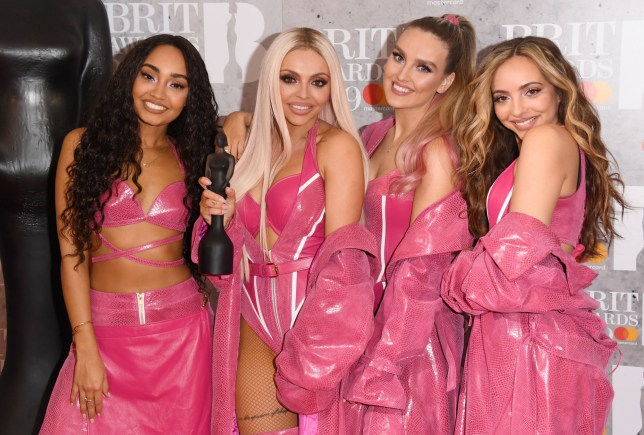 LONDON, ENGLAND - FEBRUARY 20: (EDITORIAL USE ONLY) Perrie Edwards, Jesy Nelson, Jade Thirlwall and Leigh-Anne Pinnock of 'Little Mix' in the winners room during The BRIT Awards 2019 held at The O2 Arena on February 20, 2019 in London, England. (Photo by Stuart C. Wilson/Getty Images)