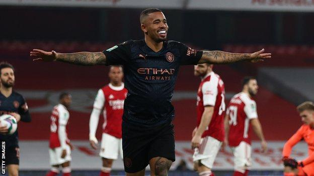 Gabriel Jesus scored his first goal since 8 November when he put City in front against Arsenal in the Carabao Cup last eight on Tuesday
