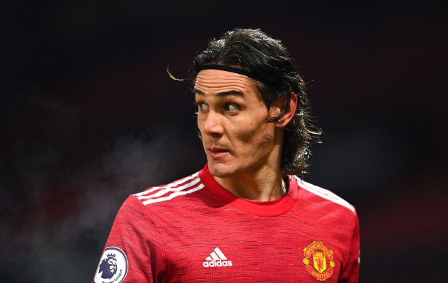 Edinson Cavani looks on during Manchester United's Premier League clash with Wolves