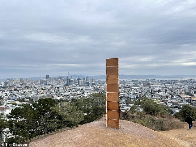 Visitors to a hilltop in San Francisco's Corona Heights Park on Christmas Day were greeting by yet another monolith, this one made of gingerbread.