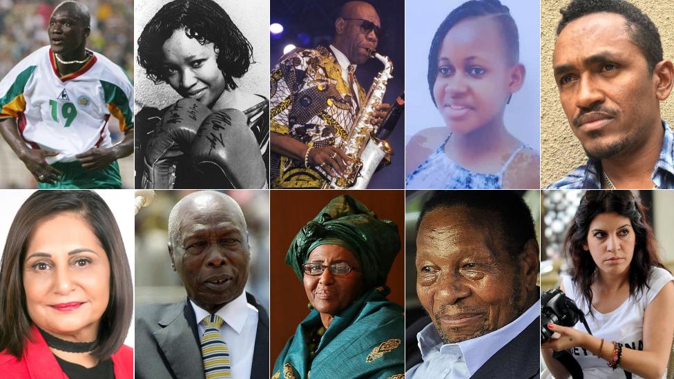 Top left to right: Papa Bouba Diop, Zindzi Mandela, Manu Dibango, Nikita Pearl Waligwa. Bottom left to right: Gita Ramjee, Daniel arap Moi, Hawa Abdi, Richard Maponya, Lina Ben Mhenni,