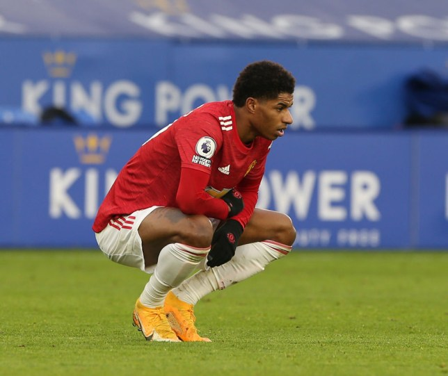 Marcus Rashford of Manchester United shows his disappointment during the Premier League match between Leicester City and Manchester United at The King Power Stadium on December 26, 2020 in Leicester, England. The match will be played without fans, behind closed doors as a Covid-19 precaution