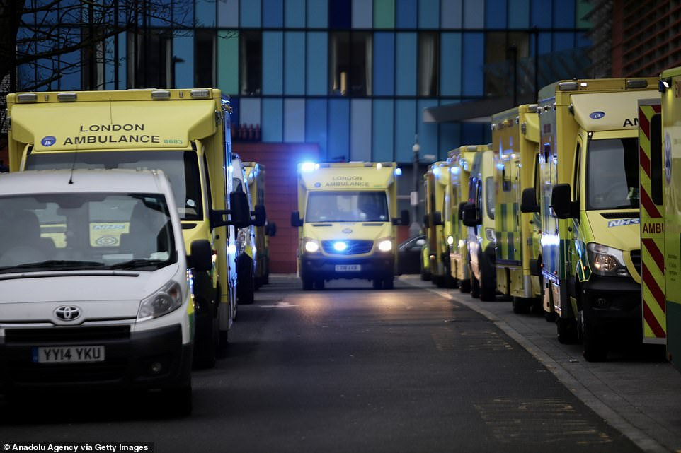 A number of ambulances were forced to wait outside the Royal London Hospital in Whitechapel last night. The pictures came just hours after Britain recorded a record daily high of 53,000 Covid cases, with the surge blamed on a a highly-infectious new variant considered more transmissible than previous strains