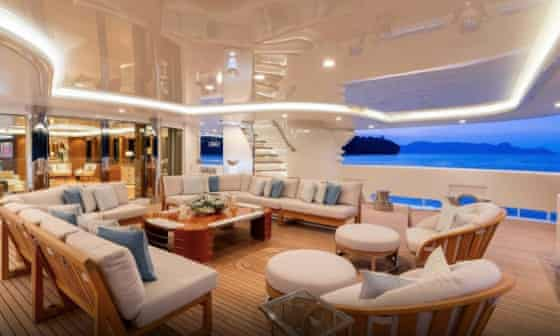 Outdoor dining area on the Lady E superyacht.