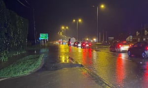 The A40 dual carriageway at Highnam in Gloucester, almost impassable after heavy rain