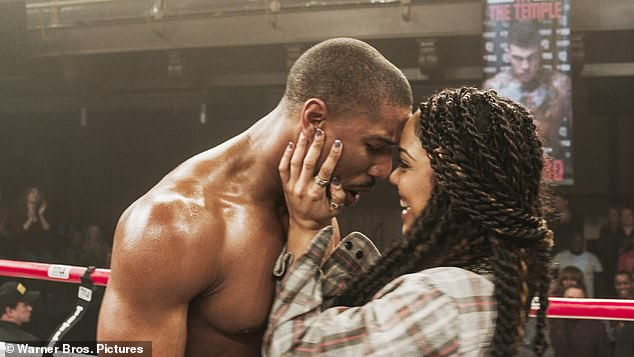 'He is directing the next Creed': Following rumors, Tessa Thompson (R) has officially confirmed that her Creed leading man Michael B. Jordan (L) will make his directorial debut helming Creed III next year (pictured in 2015)