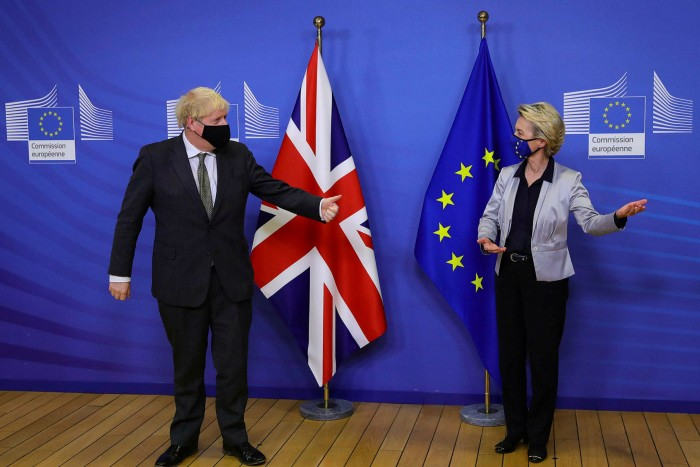 Ursula von der Leyen, European Commission president, welcomes Britain's prime minister Boris Johnson as he arrives in Brussels for a dinner to discuss the progress of negotiations