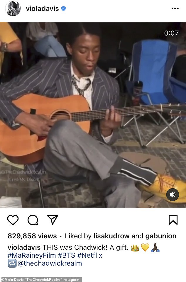 Multitalented: Chadwick Boseman's Ma Rainey's Black Bottomco-star, Viola Davis, took to Instagram on Tuesday to share footage of the late actor expertly playing guitar on set of the drama film in 2019