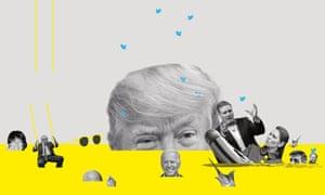Composite image of Ghislaine Maxwell, Laurence Fox, Jeff Bezos, Boris Johnson, Joe Biden, Donald Trump, Keir Starmer, Priti Patel, Grant Shapps and Rishi Sunak sinking into a yellow sea