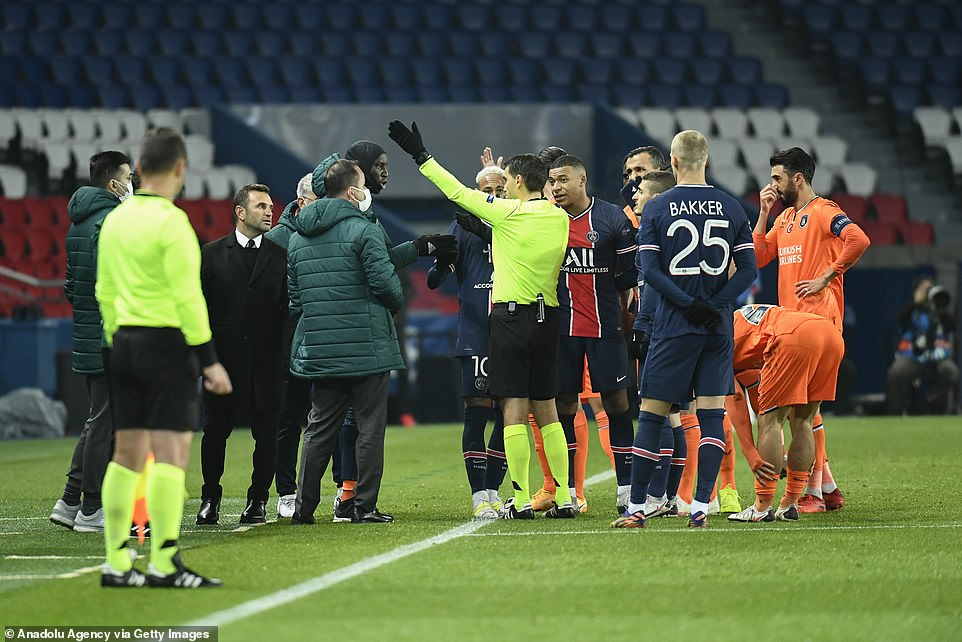 The Basaksehir staff heard the fourth official's comment and immediately objected to the Romanian term 'negru', meaning black, which was picked up by microphones