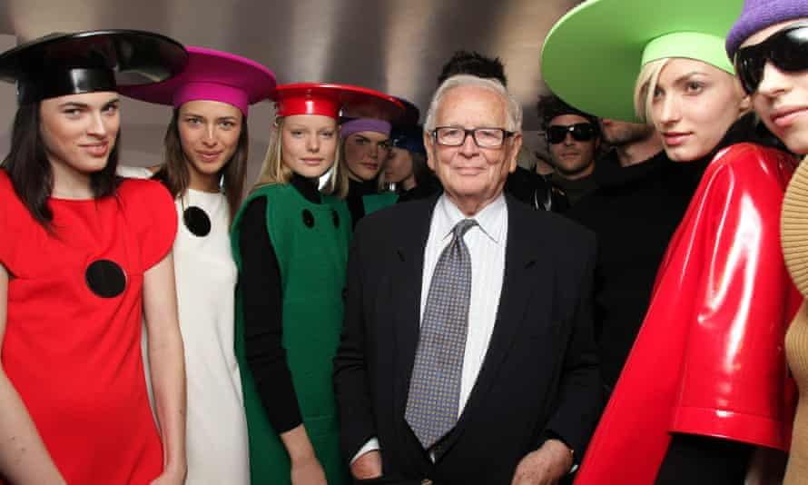 Pierre Cardin with models in France in 2008.