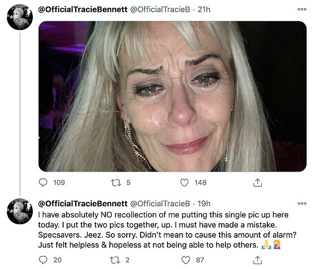 No recollection! Another hour later, Tracie returned to Twitter to apologise for causing concern amongst her followers by posting the single distraught photograph
