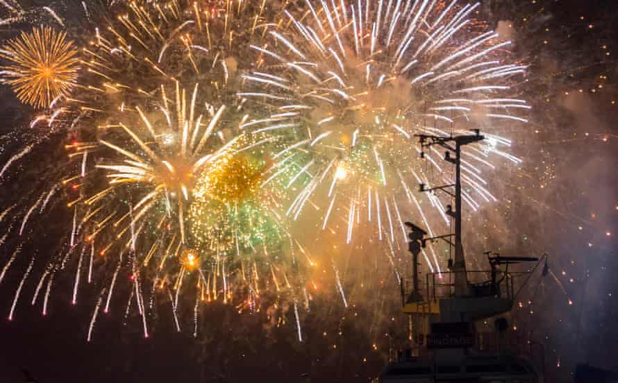 Fireworks over Cape Town's V&A Waterfront.