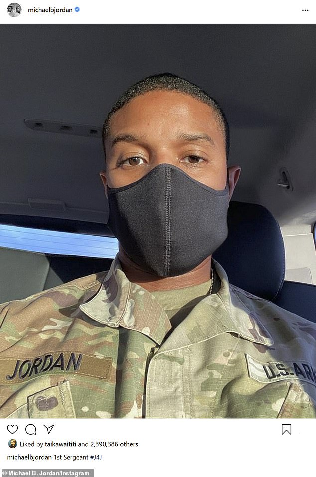 '1st Sergeant #J4J': The SAG Award winner is currently hard at work filming actor-turned-director Denzel Washington's absentee father drama Journal for Jordan for Sony Pictures (pictured December 11)