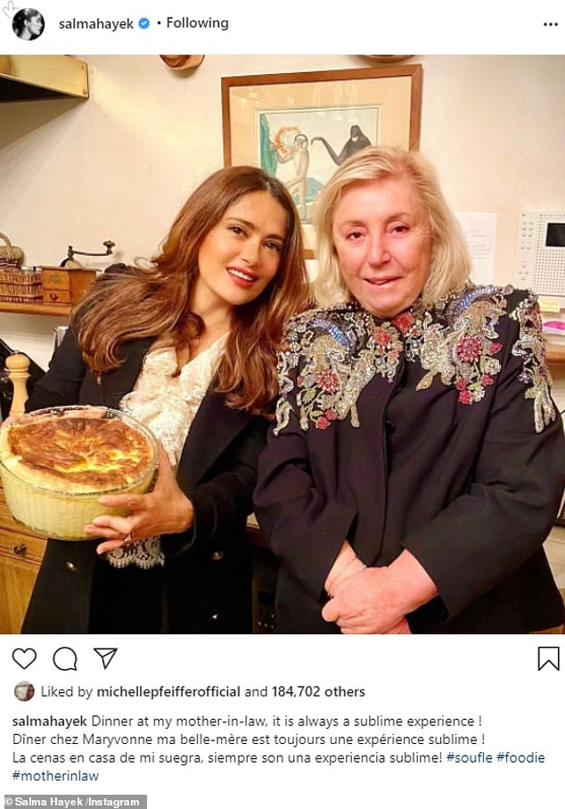 'Diner chez Maryvonne':A day before she posted her busty beach snaps Salma posted a heartwarming snap of herself in the kitchen with her stepmother-in-law Maryvonne