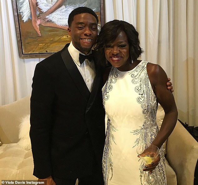 Chadwick Boseman and Viola Davis backstage together at the 2016 NAACP Awards