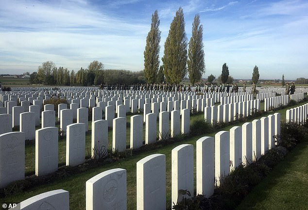 The unsung heroes have expressed their outrage after they were reportedly told they must face a pay cut or return to the UK. Pictured:Tyne Cot cemetery in Zonnebeke, Belgium