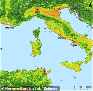 The team then developed a model to predict the risk of subsidence across the globe — including in Italy, pictured — incorporating such factors as regional geology, climate, susceptibility to flooding or drought and human activities that deplete groundwater
