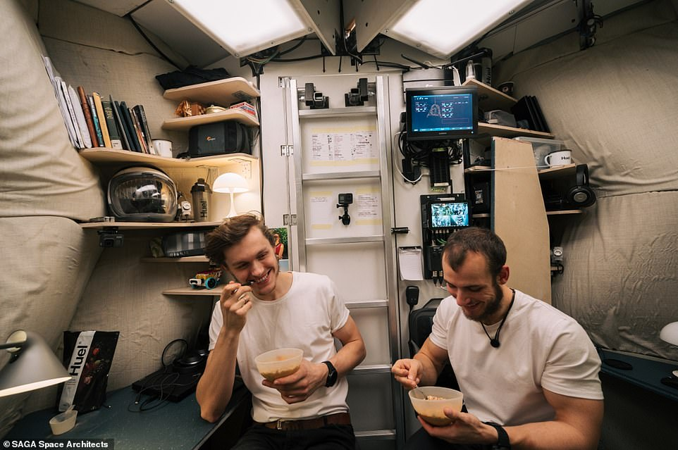 Karl-Johan Sørensen (left) and Sebastian Aristotelis (right) enjoying one of their very basic powdered meals inside the habitat
