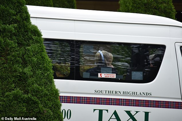 Quite the ride:The newlyweds had arrived to their venue in a local taxi