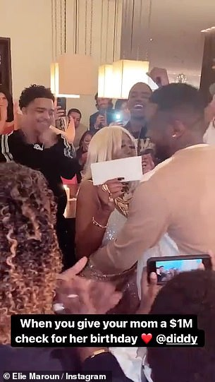 Omg! The rapper, 51, proved that nothing was too good for his mother, 80, as he presented her with the big money check in front of guests at her birthday party