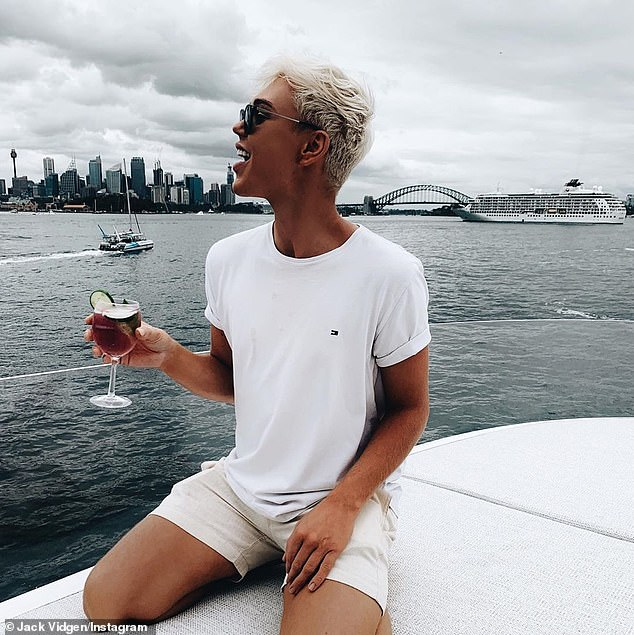 Social butterfly: Eight days before the Mardi Gras parade, Jack had attended the Gays Ahoy yacht party with celebrity publicist Roxy Jacenko