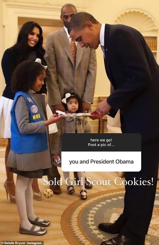 Presidential photo: The teenager also was asked to share a photo of herself with President Barack Obama and obliged