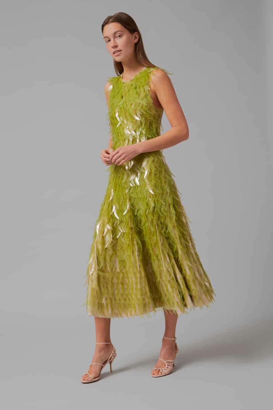 A dress covered in sequins made from ocean macroalgae, produced by designer Phillip Lim and designer and researcher Charlotte McCurdy