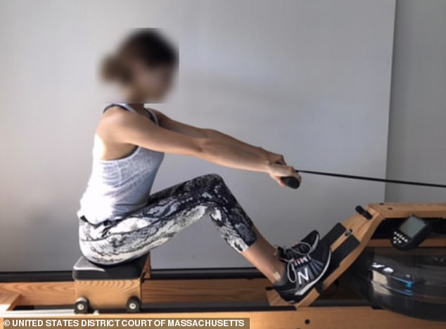 Controversy: In April, prosecutors revealed images of Lori and Mossimo's daughters posing on rowing machines as part of their bid to bribe their way into the prestigious school