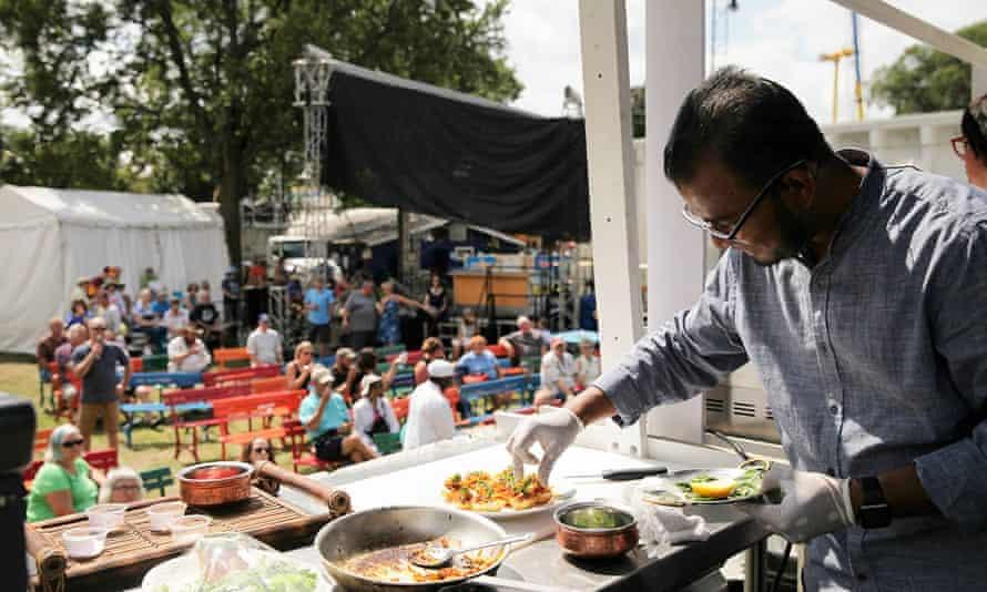 Rahel Islam preparing food in pre-Covid times.