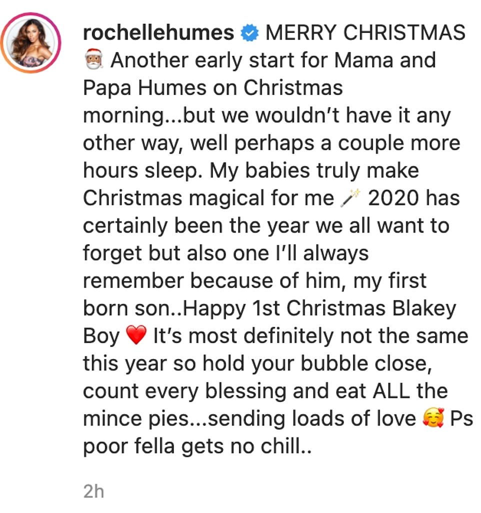 Alongside the images, she shared some thoughtful words, and wrote: 'MERRY CHRISTMAS. Another early start for Mama and Papa Humes on Christmas morning...but we wouldn't have it any other way, well perhaps a couple more hours sleep. My babies truly make Christmas magical for me'