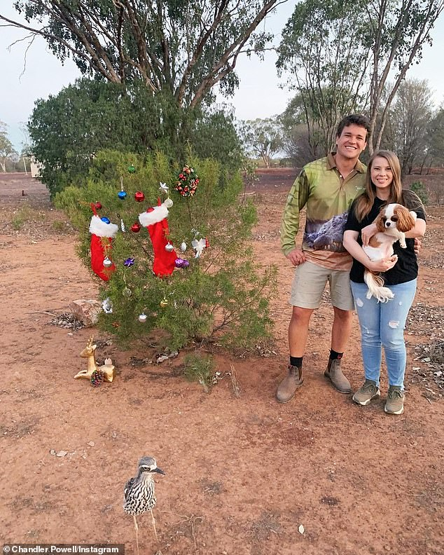 Festivities: Chandler, 24, shared a sweet photo of the couple, their dog, Piggy, and a curlew bird to his own Instagram account
