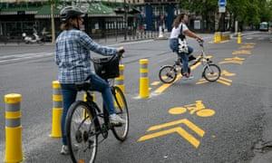 Cycle lanes in Paris.