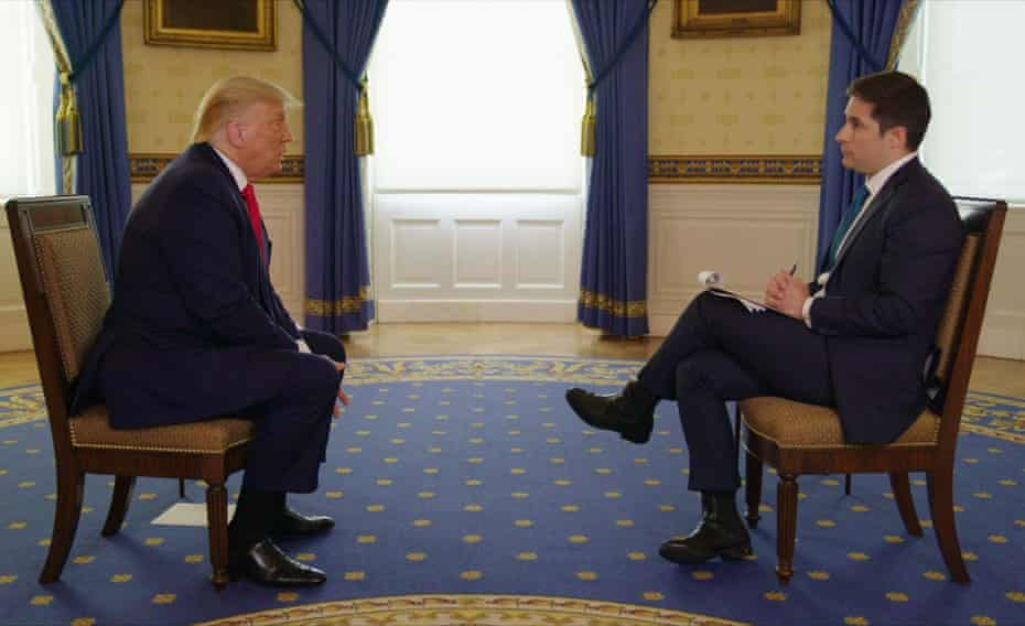 Donald Trump being interviewed by Jonathan Swan on HBO