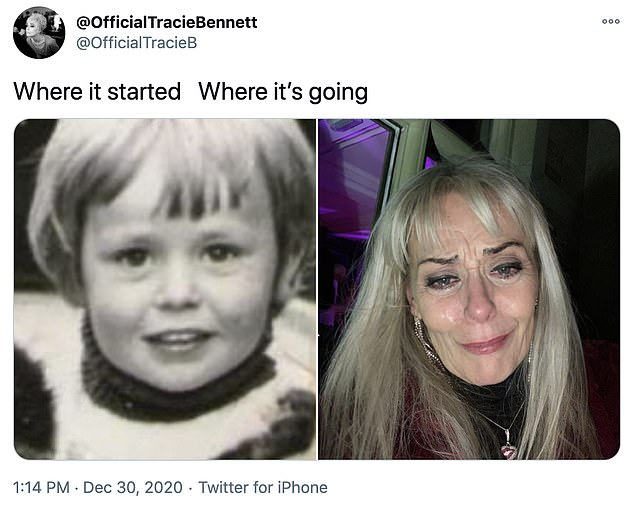 Mix-up? On Wednesday, Tracie tweeted two photographs of herself side-by-side, but an hour later, she shared the single distraught photograph of herself in an uncaptioned tweet