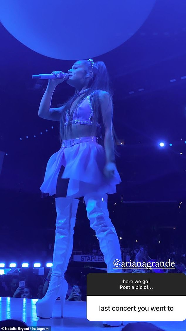 Last concert: The teen also shared a snap of Ariana Grande, 27, singing to fulfill a request for a picture from her last concert