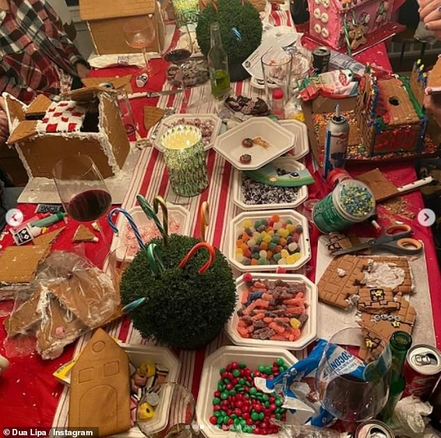Yum:The Don't Start now singer also showed off the ginger bread houses the family made, with one image showcasing the plethora of ingredients they had at hand to create their baked abodes