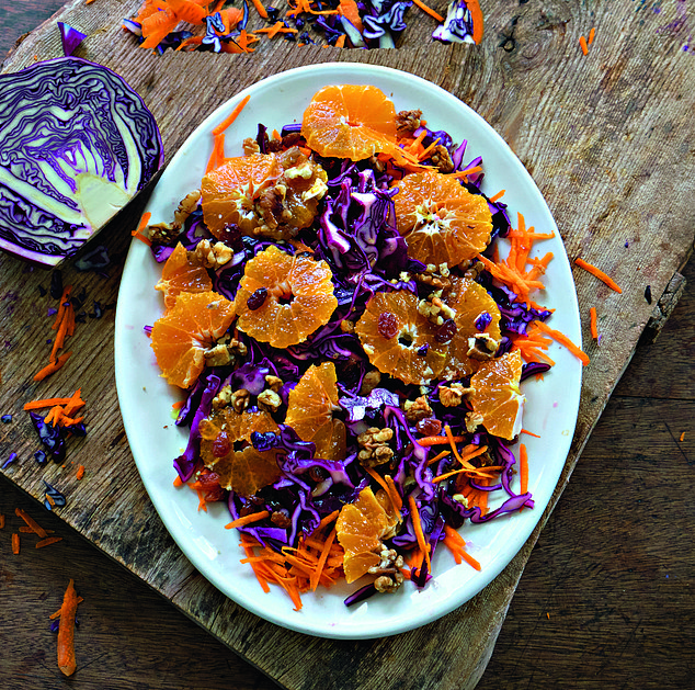 Red cabbage, carrot & clementine salad with raisins & walnuts