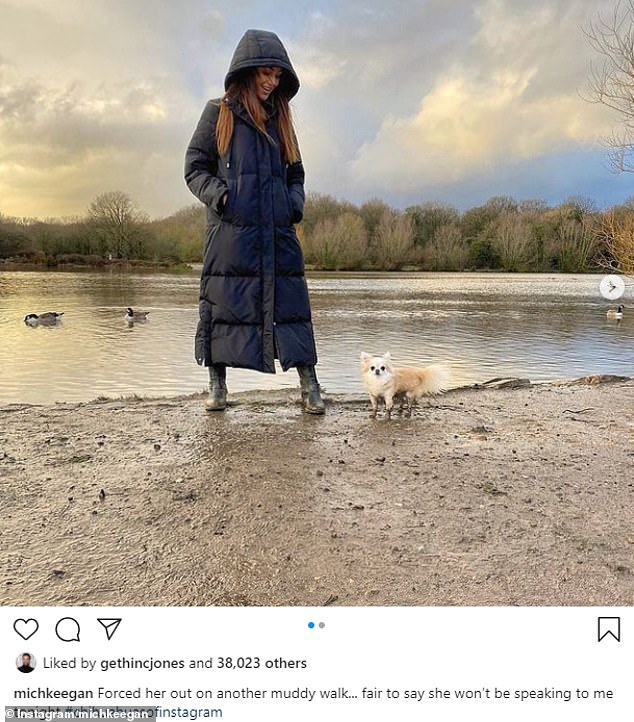 Festive stroll:Michelle looked suitably stylish as she enjoyed a scenic dog walk on Wednesday